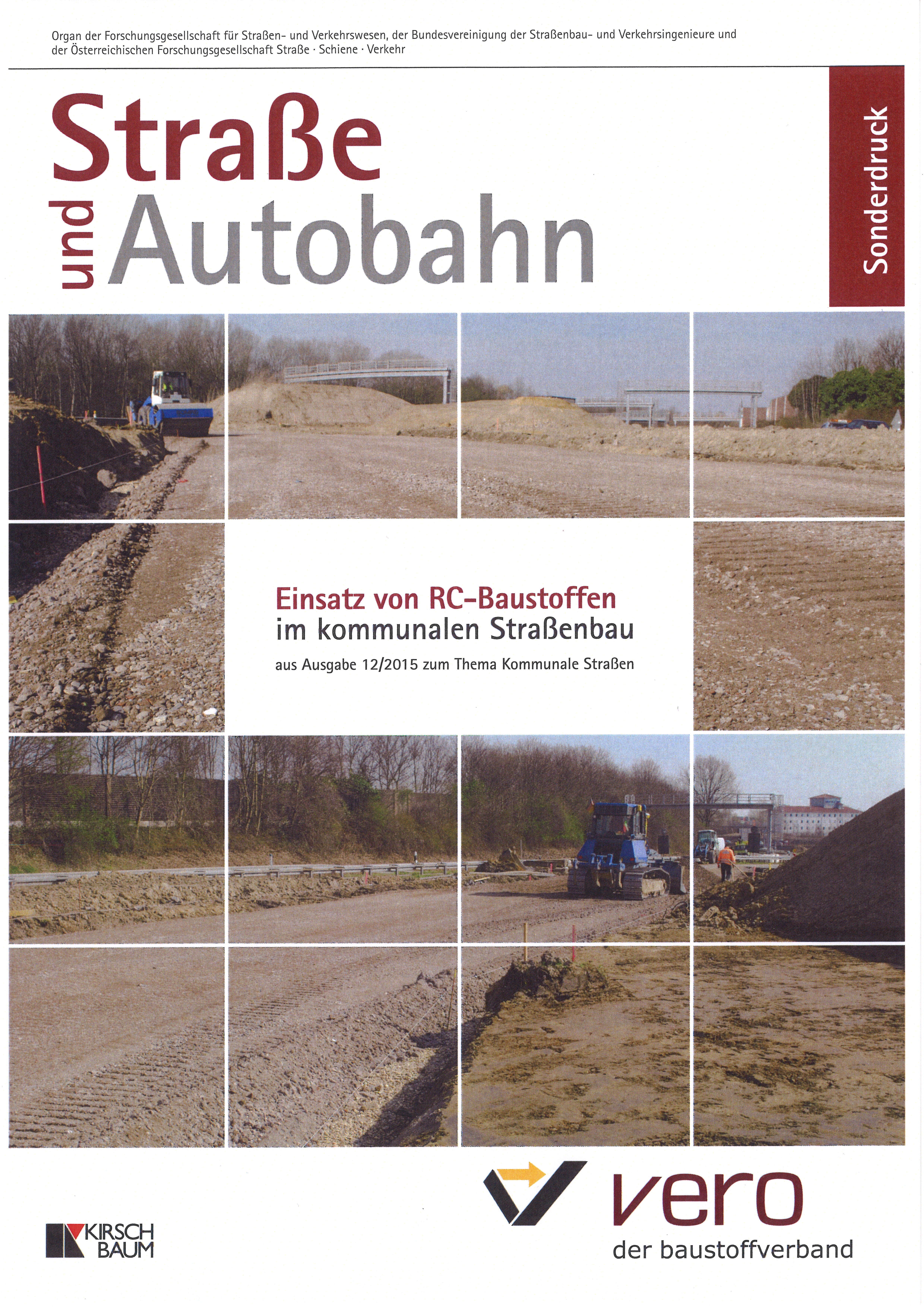 """Sonderdruck – Straße und Autobahn """"Einsatz von RC-Baustoffen im kommunalen Straßenbau"""""""